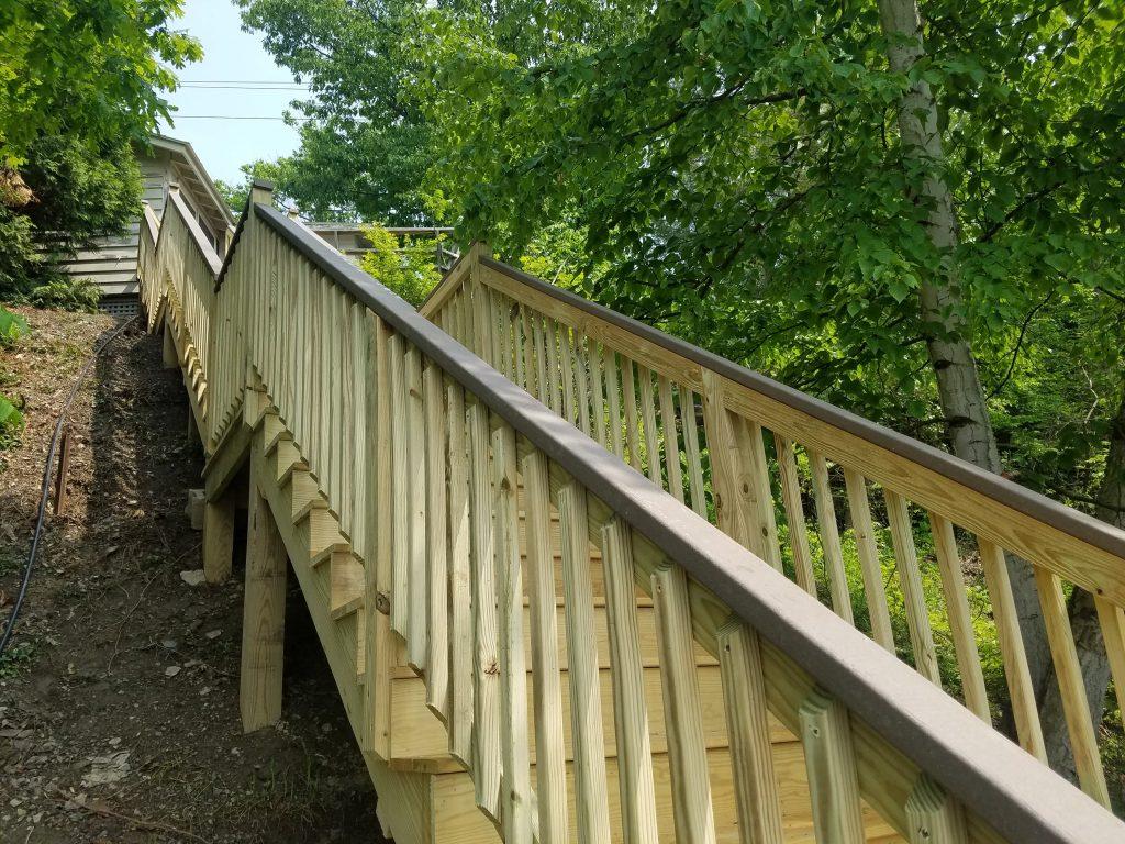 Pressure treated stairway