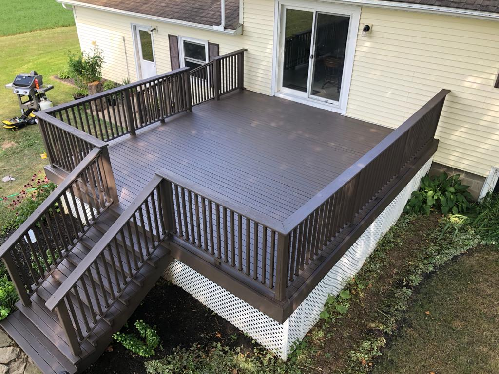 Sky veiw of newly stained deck